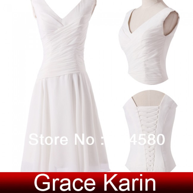 Fashion Short Design White Dress Women Deep V-Neck Chiffon prom Dress Dinner Evening Birthday Party dresses CL6059