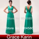 In Stock Ladies Deep V-Neck Formal Prom Dresses Dinner Gown Chiffon Evening party Long Dress CL6064