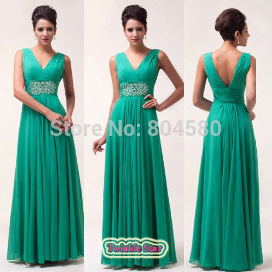 In Stock Ladies Deep V-Neck Formal Prom Dresses Dinner Gown Chiffon ...