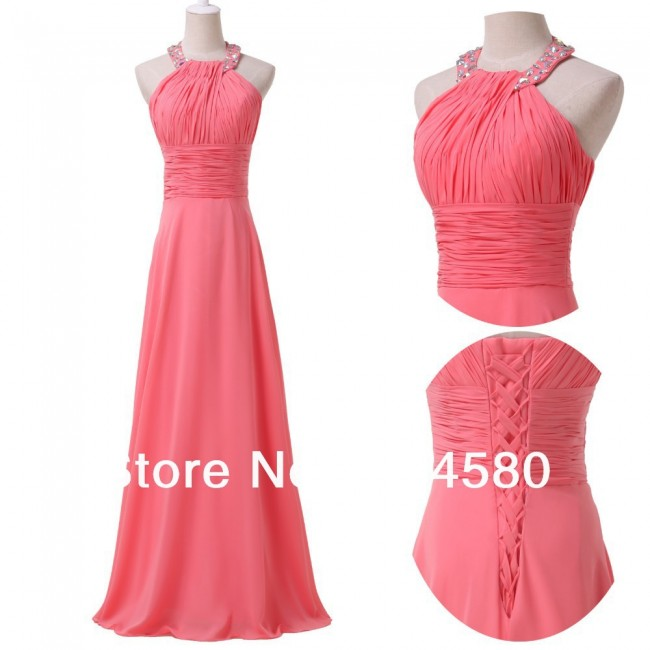 In Stock Sexy Floor-Length Halter Long Evening dress Women Pink Bandage Gown Formal Chiffon prom party Dresses CL6028