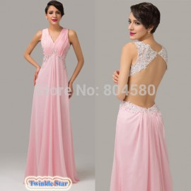 Sexy Floor Length Backless Evening dress Women Chiffon Beads Pageant Party Gowns Formal Long Celebrity dresses CL6114