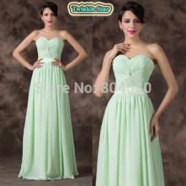 Stock Strapless Women Celebrity dresses Sexy Floor Length Green Long Evening Gown Chiffon prom Party dress CL6238