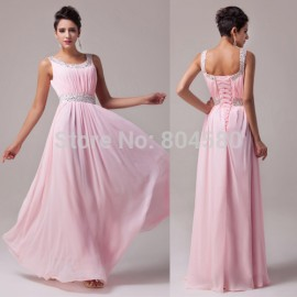 Stock U Neck Floor Length Women Celebrity dresses sexy Formal Party Gown Long Evening dress prom Ball CL6007