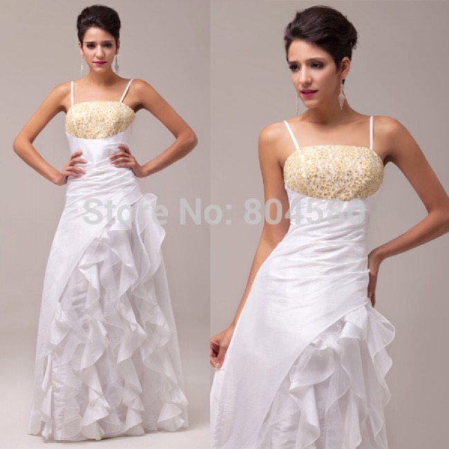 Grace Karin Strapless Spaghetti Straps  N/T taffeta + Voile Floor-Length Prom Gown Evening Dresses CL6000