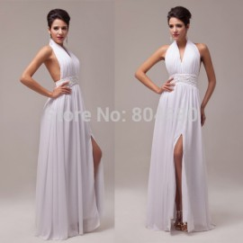 Stock  Style Strapless Halter Chiffon Women's Long Backless Party Dress Evening Gown Formal Prom dresses CL6065