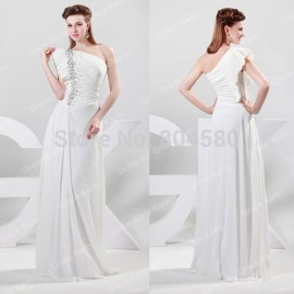 Stock One shoulder White Chiffon Celebrity Dress Formal prom Gown Long Evening party Dresses CL6085 (AL12)