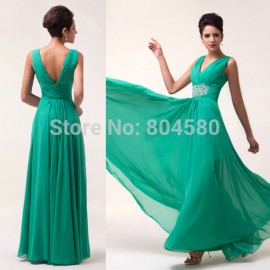 sexy Deep V-Neck Evening Dress for women Prom Dresses Gown Chiffon Long Party formal Gowns CL6064