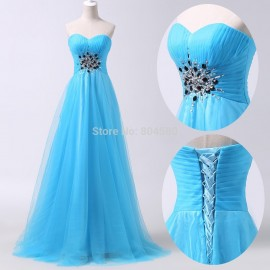 Cheap Pattern Sweetheart Floor Length Long Corset Evening dress Blue Vintage Party Ball Gown Formal Prom dresses CL6243