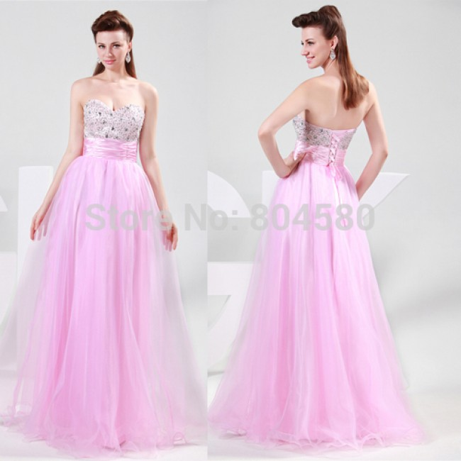 Sexy Strapless Sweetheart Floor Length Beaded High School Party Gown Long Prom Ball Evening Dress CL4011