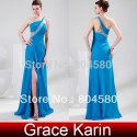 Stock Floor Length One shoulder Long Chiffon Blue Formal Evening dresses CL4947