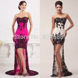 Black Sleeveless Short Front Long Back Lace Evening dress Women Formal Party dresses Long Prom Gown Plus size CL6044