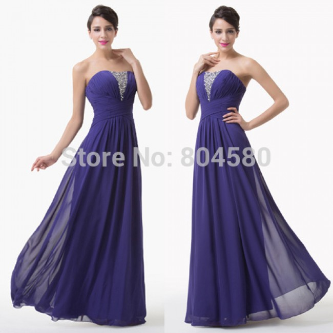 Chic Women Strapless Long Empire Prom dress Sleeveless Purple Crystal beading Evening Gown Formal Party Dresses CL6207