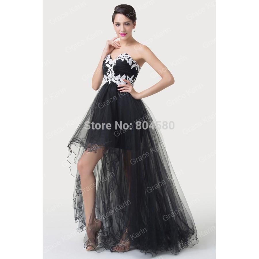 Elegant Strapless appliques Short Front Long Back Prom dresses Party ...