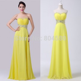Elegant Yellow Strapless A Line Floor Length Chiffon Celebrity dress Long Formal Evening Party dresses Gown Ball CL6270