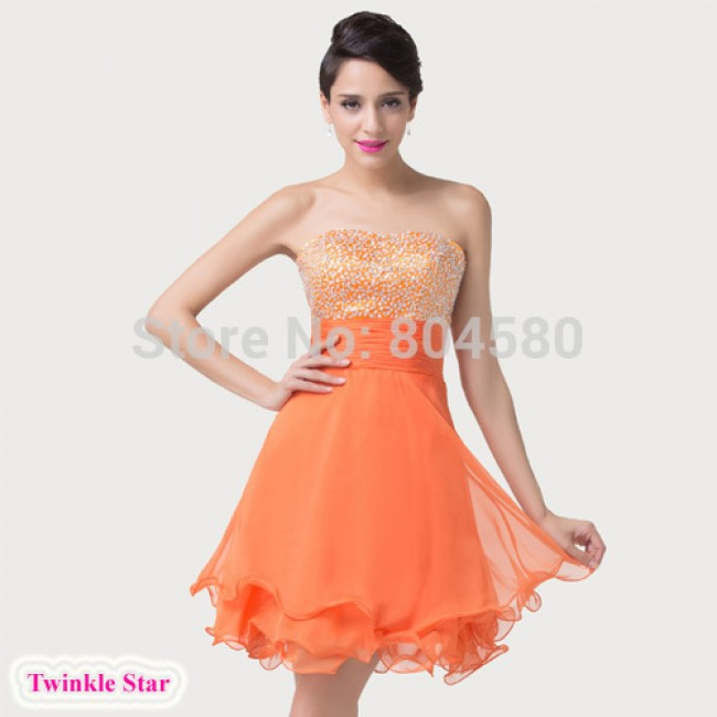 Fashion Strapless Off the Shoulder Knee Length Orange Beads Chiffon Short Prom dresses Formal Evening Party Gown CL6196