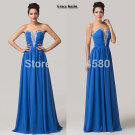 Grace Karin Stock Strapless Sexy Floor Length Formal Party Gown Blue Homecoming dress Long Evening Prom dresses CL6154