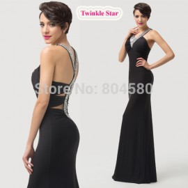 Grace Karin Women Elastic Sexy Bodycon Bandage dress Celebrity dresses Black Beads Cheap Evening party Gown CL6157