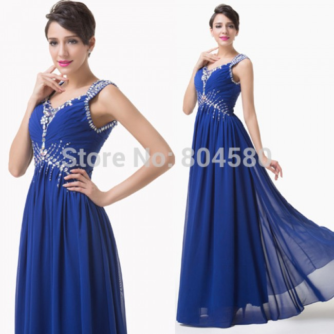 Hot Sale Stock Blue Long Chiffon Pleated beads Cap Sleeve Prom dress Formal party dresses Women Evening Gown CL6189