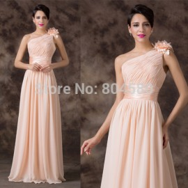 One Shoulder Floor Length Formal Chiffon evening dresses Women Long Prom Party Gown casual dress	CL6194