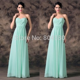 Pale Turquoise Color Chiffon Strapless Prom party dresses  Fashion Women Long Bridesmaid dresses CL6214