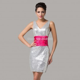 Silver Color with red waistband Crystal Sequins Bandage dress Short Evening Gown Women Summer Prom Party dresses CL6099