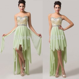 Sleeveless Chiffon Evening dress Formal Party Gown Short Front Long Back Rhinestone Prom dresses Asymmetrical CL6131