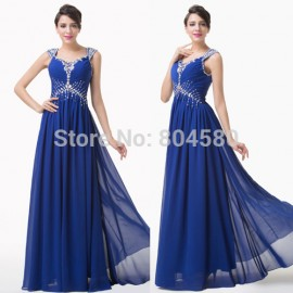 Stock Floor Length Backless Homecoming Party dress Long Chiffon Evening dresses Blue Formal Gowns CL6189