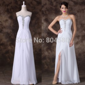 Strapless A Line Novelty Winter Party Dress Chiffon Long Evening dresses White Sleeveless Formal Prom Gowns CL6236