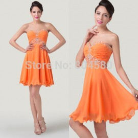 Women Vintage Elegant Strapless Chiffon Formal Evening Gowns Rhinestone Beaded Prom dresses Short Casual Party dress CL6282