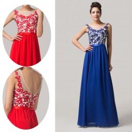 2015 Elegant Red Blue Women Long Party Evening Dress Appliques Lace Open Back Prom Dresses vestidos de festa vestido longo 6148
