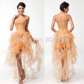 2015 Fashion Summer Strapless Women Bodycon Dress Party Evening Gown Elegant Vestidos Prom dresses Short Front Long Back 3848