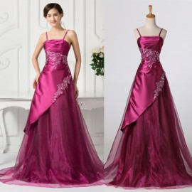 2015 Hot!Grace Karin Straps Voile Satin Dinner Party Dress Sexy Women Evening dresses Wine Red Long Prom Ball Gown  CL7516