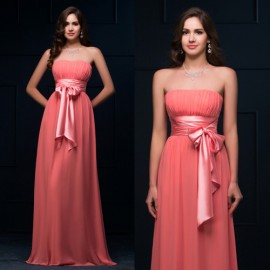 2015 New Arrival Handmade Sashes Evening dress Chiffon Night Prom dresses Long Party Gown Women Summer Floor Length D8910
