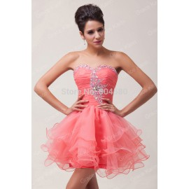 2015 New Fashion Stock Strapless Voile Short Evening Dress Sexy Party gown women Prom dresses Formal Ball Gowns CL6077
