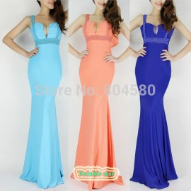 2015 New Sexy Occident Cross Back Women Bodycon Dress Sexy Bandage Dresses Long Evening Prom Party Gown Dress CL6097