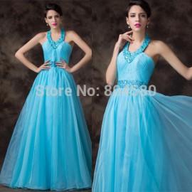 2015 Sexy Halter Ball Gown Long Evening Dress High Waist Prom dresses for Party Winter Formal Gowns vestido de festa longo D6201