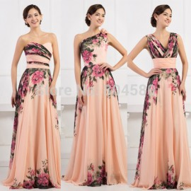3 Designs Grace Karin Stock One Shoulder Flower Pattern Floral Print Chiffon Evening Gown Dress Party Prom dresses  CL750234