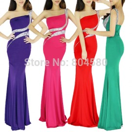 Actual Imagine 2015 New Charming One Shoulder Evening Party Gown Backless Bandage dress long mermaid prom dresses Beading 6062