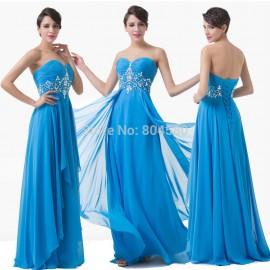 Actual Imagine Blue Long Chiffon Prom Gown Floor Length Engagement Party Evening Dresses Plus Size Special Occasion Dress D6183