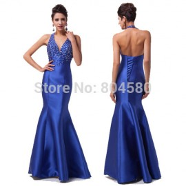Actual Imagine Grace Karin Floor length Formal Mermaid Prom dress Women Casual Party Gown Long Evening dresses 2015 Blue 6024