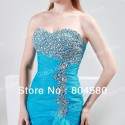 Amazing design Grace Karin Stock Strapless Organza Split Ball Mermaid Evening dresses fashion Blue Prom Party Dress gown CL4654
