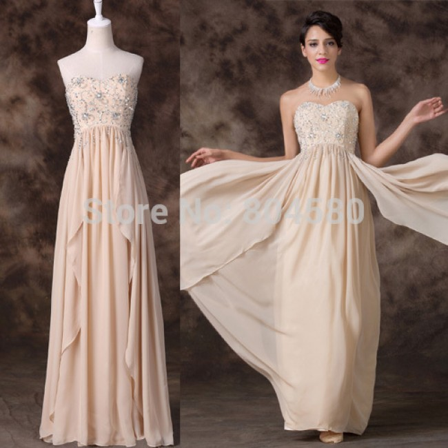 Apricot Crystal Beads Long Corset Evening dress Empire Chiffon Party Gown Formal dresses Women Special Occasion Prom Ball CL6259