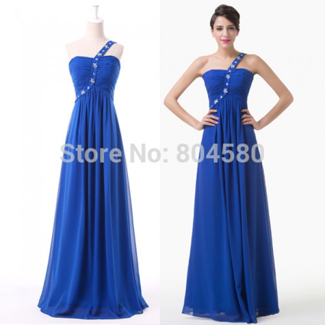 Attractive Cheap One Shoulder Blue Chiffon Toast Formal Prom dress ...