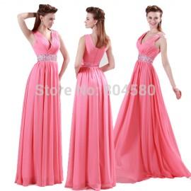 Beach Style Grace Karin In Stock V neck Floor Length Pink Chiffon Bridesmaid dress 2015 Long Wedding Party dresses Cheap 4431