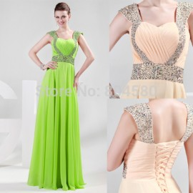 Bead Strapless Chiffon A-Line Party Prom Dresses Formal Evening Long Dress  CL4446