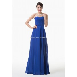 Beautiful   Winter Special Occasion Long Blue Chiffon party dress renda Formal Evening Gown Women Prom dresses CL6232