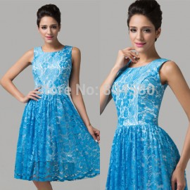 Beautiful Women Knee Length Blue Lace Special Occasion Formal Prom Gown Sexy Evening dress  CL6158