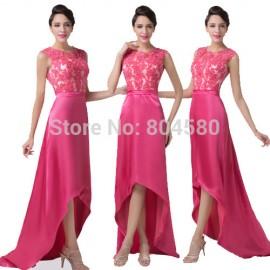 Best Sales Grace Karin Lace Appliques Bandage dress Short Front Long Back Evening Gown Prom dresses  Satin CL6246
