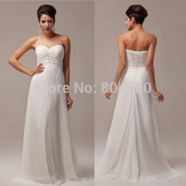 Best selling A-Line Strapless Chiffon prom dress Floor-Length Long evening dress White Party Gown CL6041