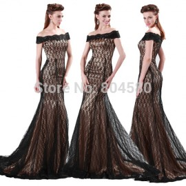 Black Color Boat Neck Lace Embroidery Mermaid Evening dress Long Bandage Prom dresses Cap Sleeve Women Formal Party Gown 4471